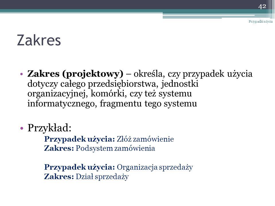 Zakres Zakres (projektowy) – określa, czy przypadek użycia dotyczy całego przedsiębiorstwa, jednostki organizacyjnej, komórki, czy też systemu informa