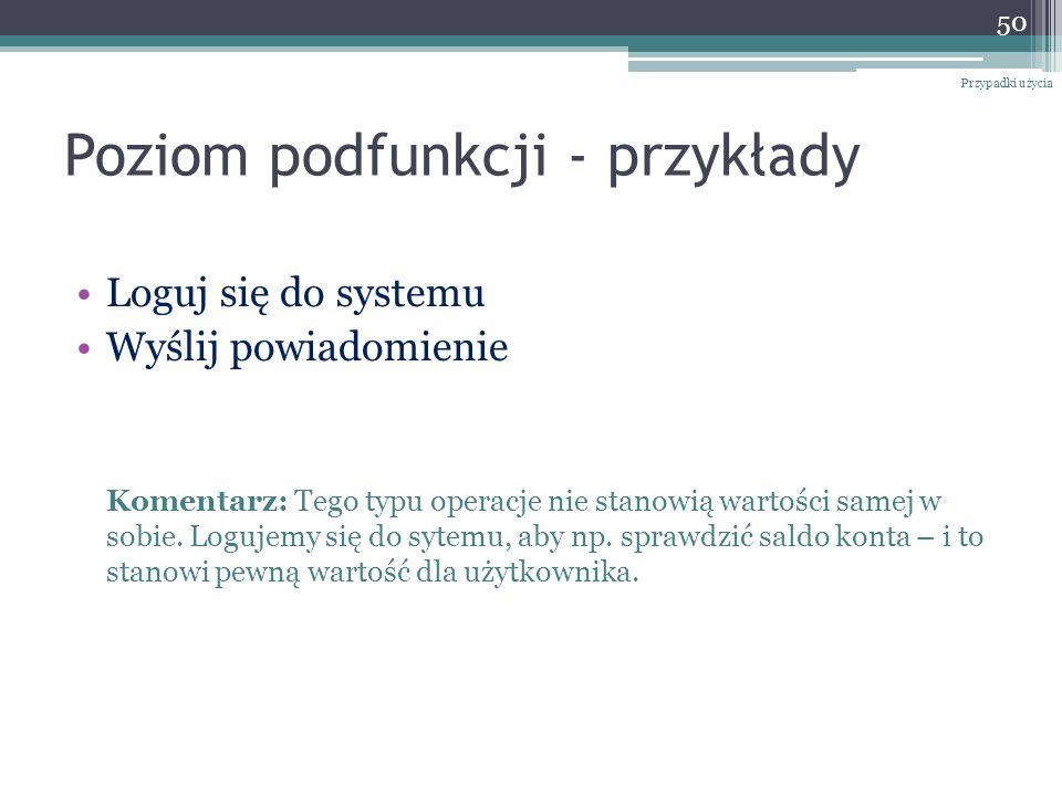 Poziom podfunkcji - przykłady Loguj się do systemu Wyślij powiadomienie Komentarz: Tego typu operacje nie stanowią wartości samej w sobie. Logujemy si