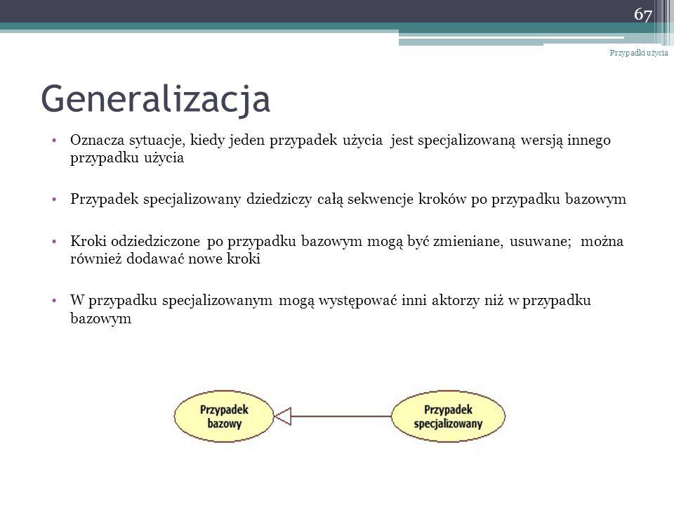 Generalizacja Oznacza sytuacje, kiedy jeden przypadek użycia jest specjalizowaną wersją innego przypadku użycia Przypadek specjalizowany dziedziczy ca