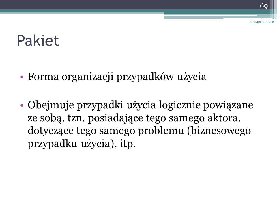 Pakiet Forma organizacji przypadków użycia Obejmuje przypadki użycia logicznie powiązane ze sobą, tzn. posiadające tego samego aktora, dotyczące tego