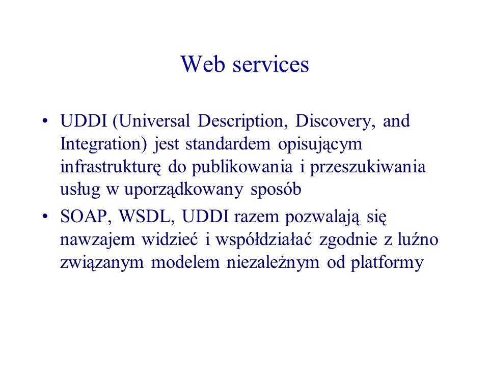 Web services UDDI (Universal Description, Discovery, and Integration) jest standardem opisującym infrastrukturę do publikowania i przeszukiwania usług