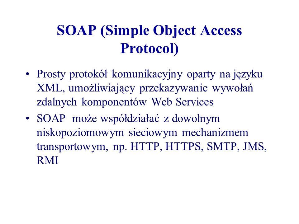 SOAP (Simple Object Access Protocol) Prosty protokół komunikacyjny oparty na języku XML, umożliwiający przekazywanie wywołań zdalnych komponentów Web