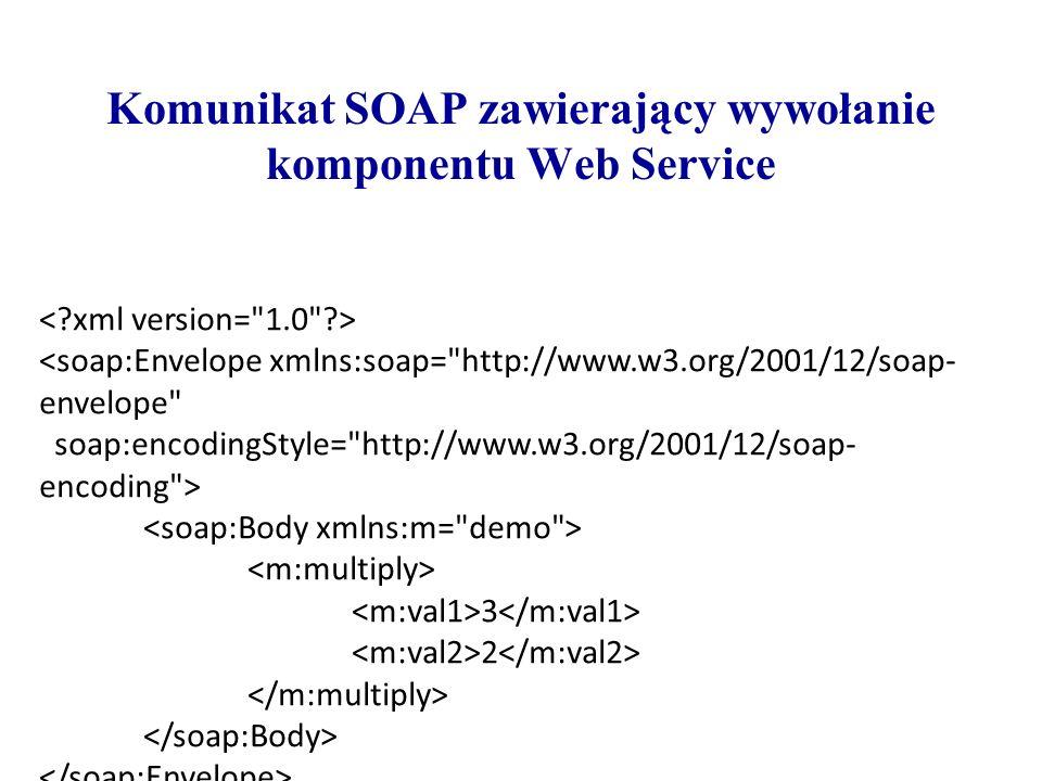 Komunikat SOAP zawierający wywołanie komponentu Web Service <soap:Envelope xmlns:soap=