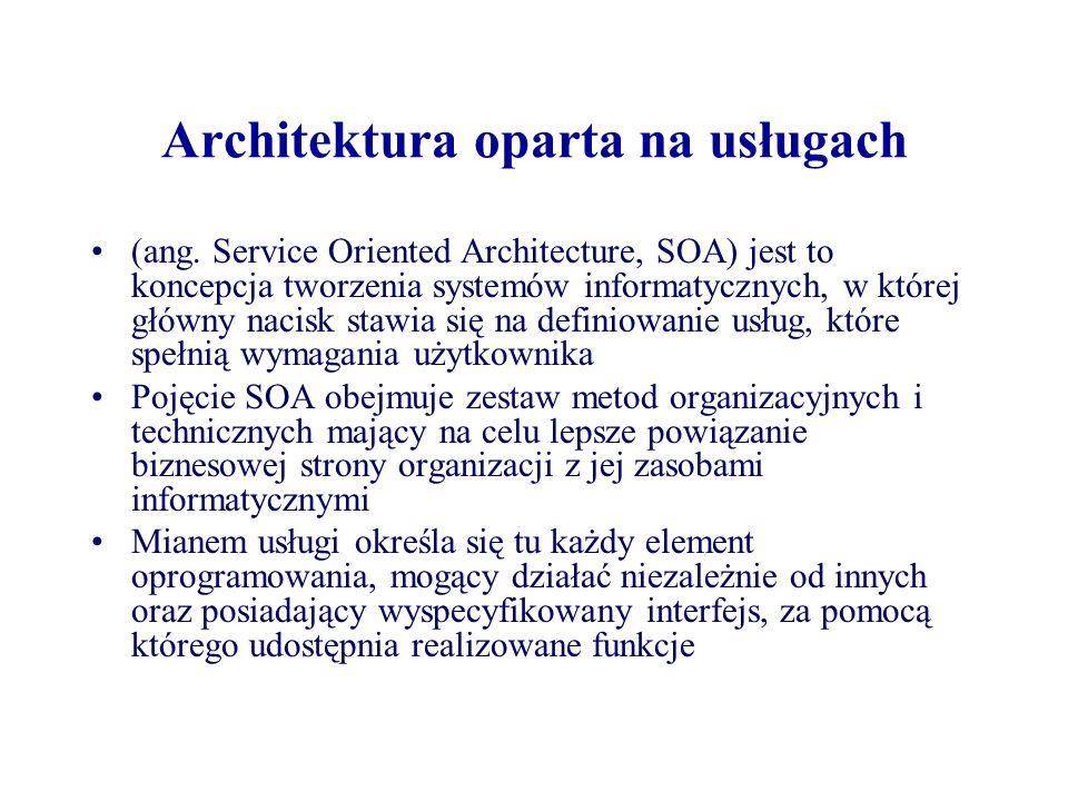 Architektura oparta na usługach (ang. Service Oriented Architecture, SOA) jest to koncepcja tworzenia systemów informatycznych, w której główny nacisk