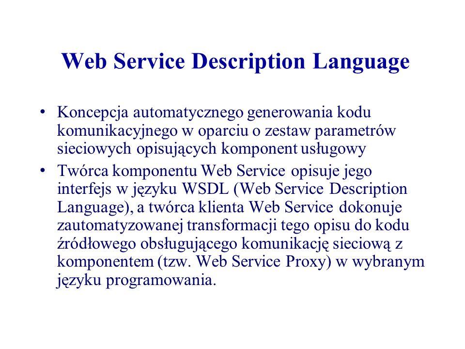 Web Service Description Language Koncepcja automatycznego generowania kodu komunikacyjnego w oparciu o zestaw parametrów sieciowych opisujących kompon