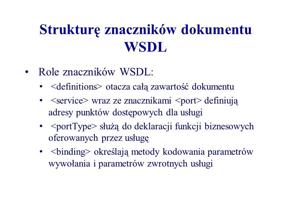 Strukturę znaczników dokumentu WSDL Role znaczników WSDL: otacza całą zawartość dokumentu wraz ze znacznikami definiują adresy punktów dostępowych dla