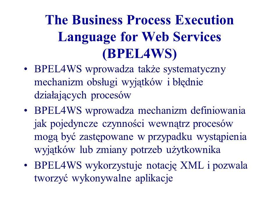 The Business Process Execution Language for Web Services (BPEL4WS) BPEL4WS wprowadza także systematyczny mechanizm obsługi wyjątków i błędnie działają