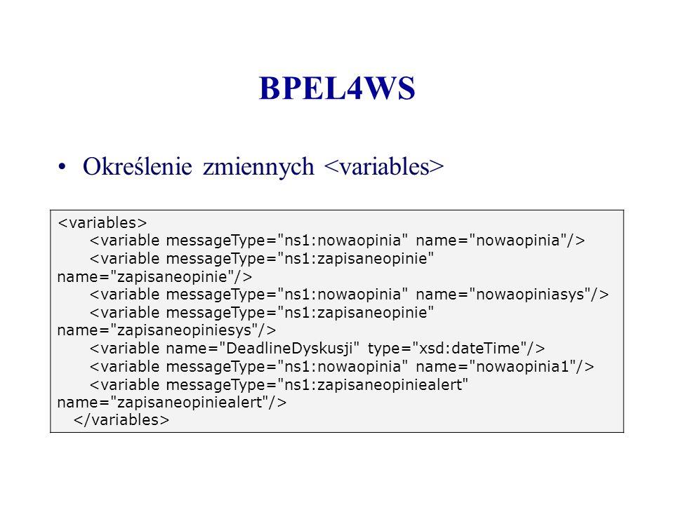 BPEL4WS Określenie zmiennych