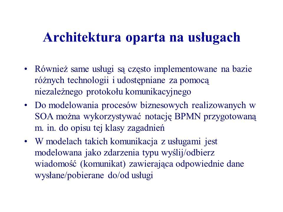 Architektura oparta na usługach Również same usługi są często implementowane na bazie różnych technologii i udostępniane za pomocą niezależnego protok