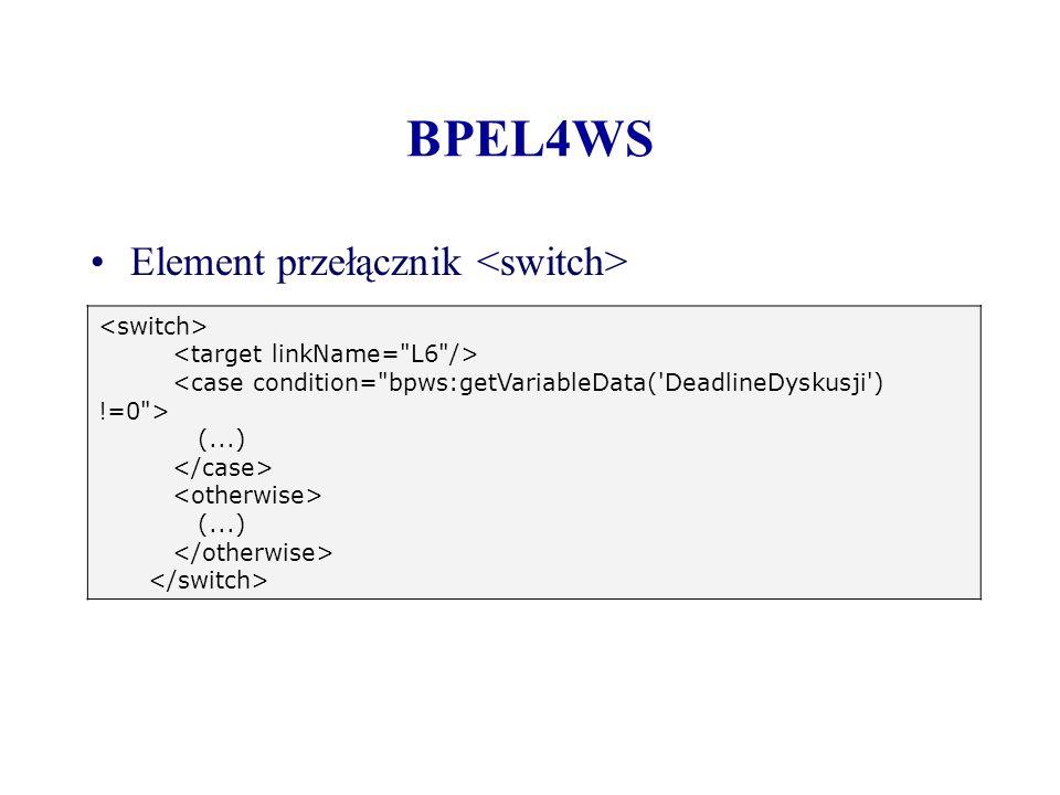 BPEL4WS Element przełącznik (...) (...)
