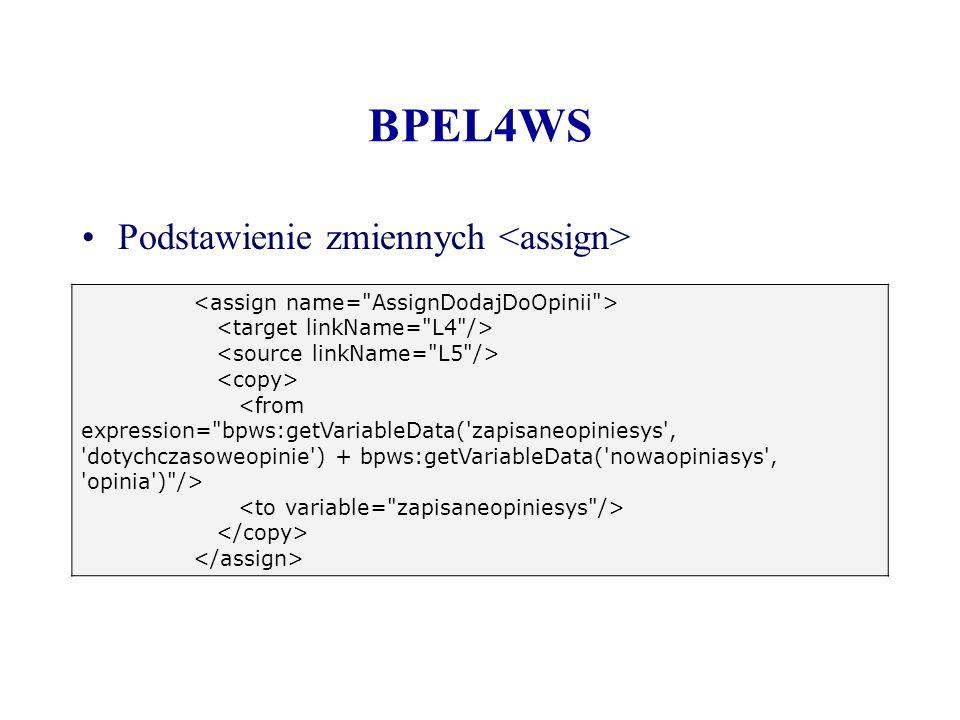 BPEL4WS Podstawienie zmiennych