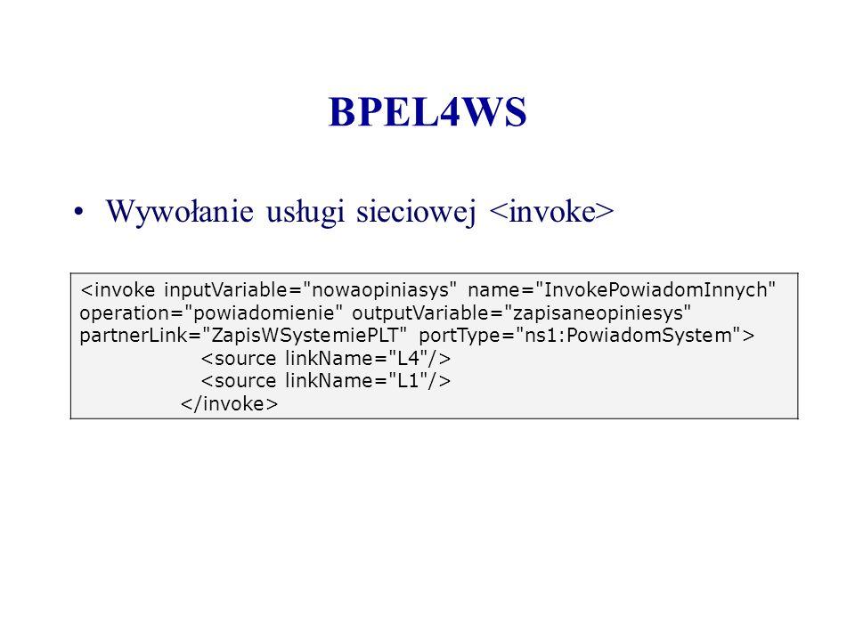 BPEL4WS Wywołanie usługi sieciowej