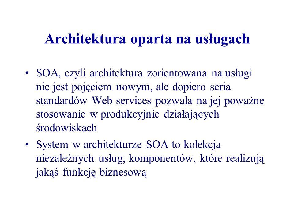 Architektura oparta na usługach SOA, czyli architektura zorientowana na usługi nie jest pojęciem nowym, ale dopiero seria standardów Web services pozw