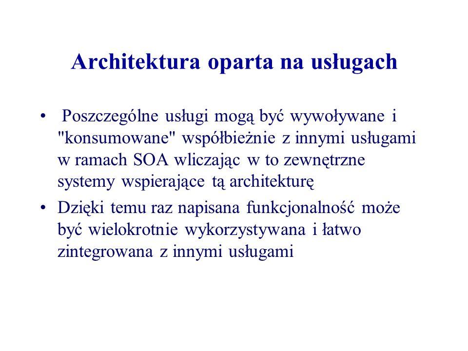 Architektura oparta na usługach Poszczególne usługi mogą być wywoływane i