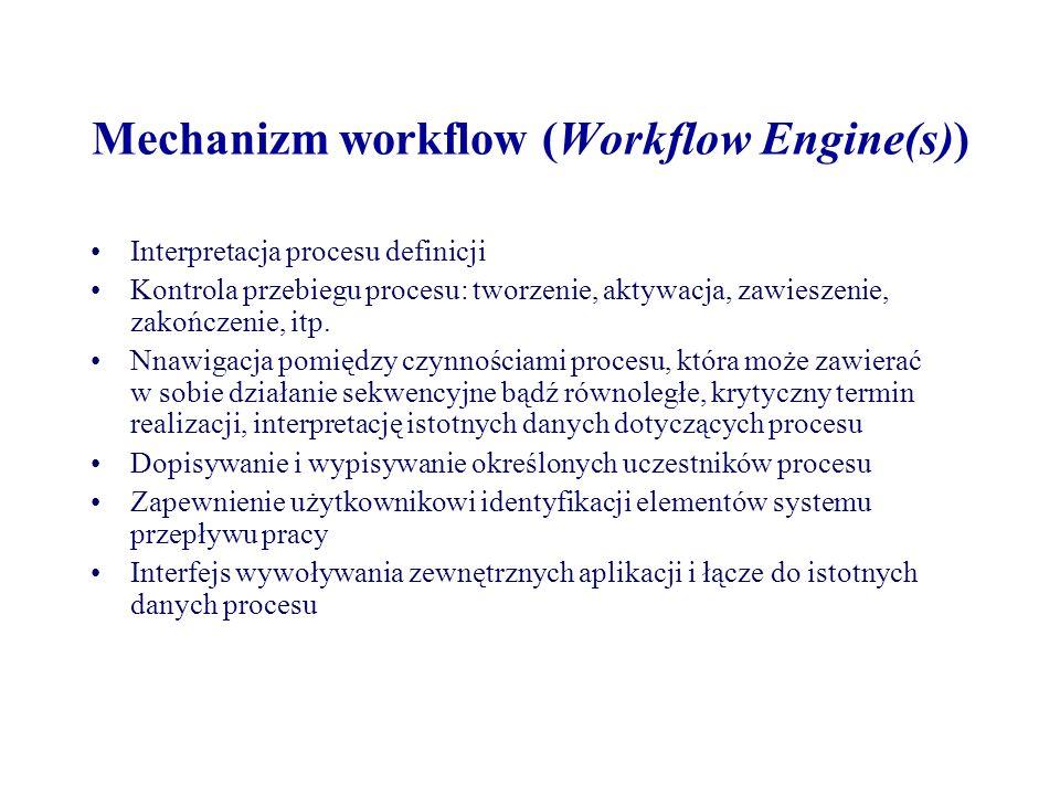 Mechanizm workflow (Workflow Engine(s)) Interpretacja procesu definicji Kontrola przebiegu procesu: tworzenie, aktywacja, zawieszenie, zakończenie, it