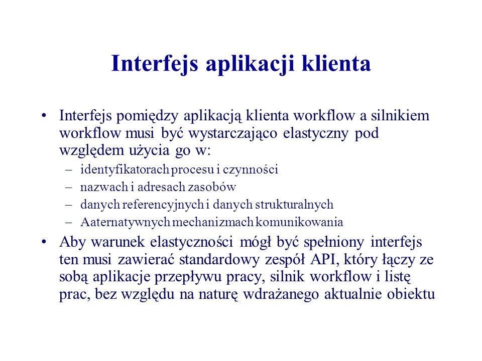 Interfejs aplikacji klienta Interfejs pomiędzy aplikacją klienta workflow a silnikiem workflow musi być wystarczająco elastyczny pod względem użycia g