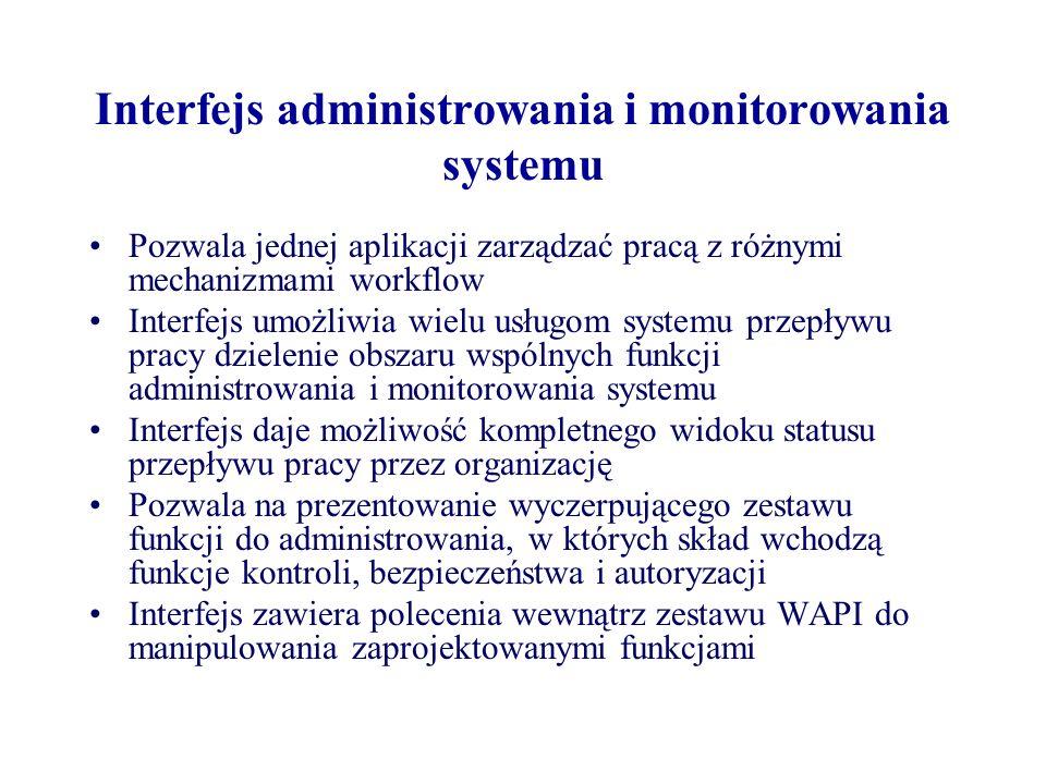 Interfejs administrowania i monitorowania systemu Pozwala jednej aplikacji zarządzać pracą z różnymi mechanizmami workflow Interfejs umożliwia wielu u