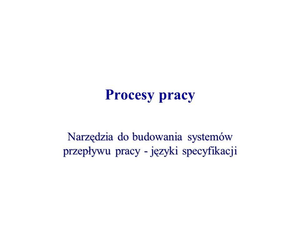 Procesy pracy Narzędzia do budowania systemów przepływu pracy - języki specyfikacji