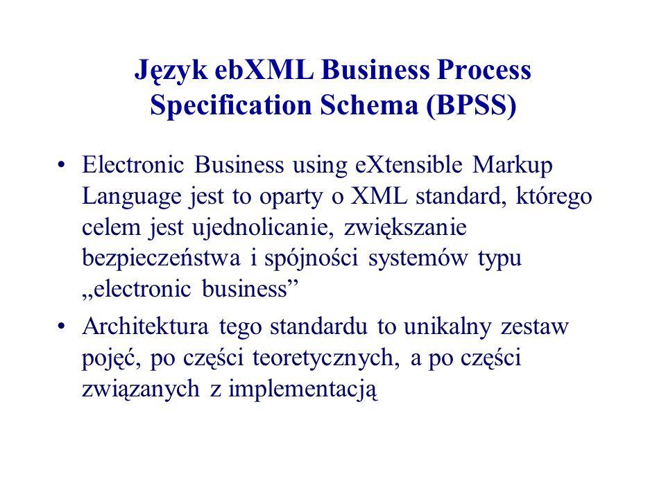 Język ebXML Business Process Specification Schema (BPSS) Electronic Business using eXtensible Markup Language jest to oparty o XML standard, którego c