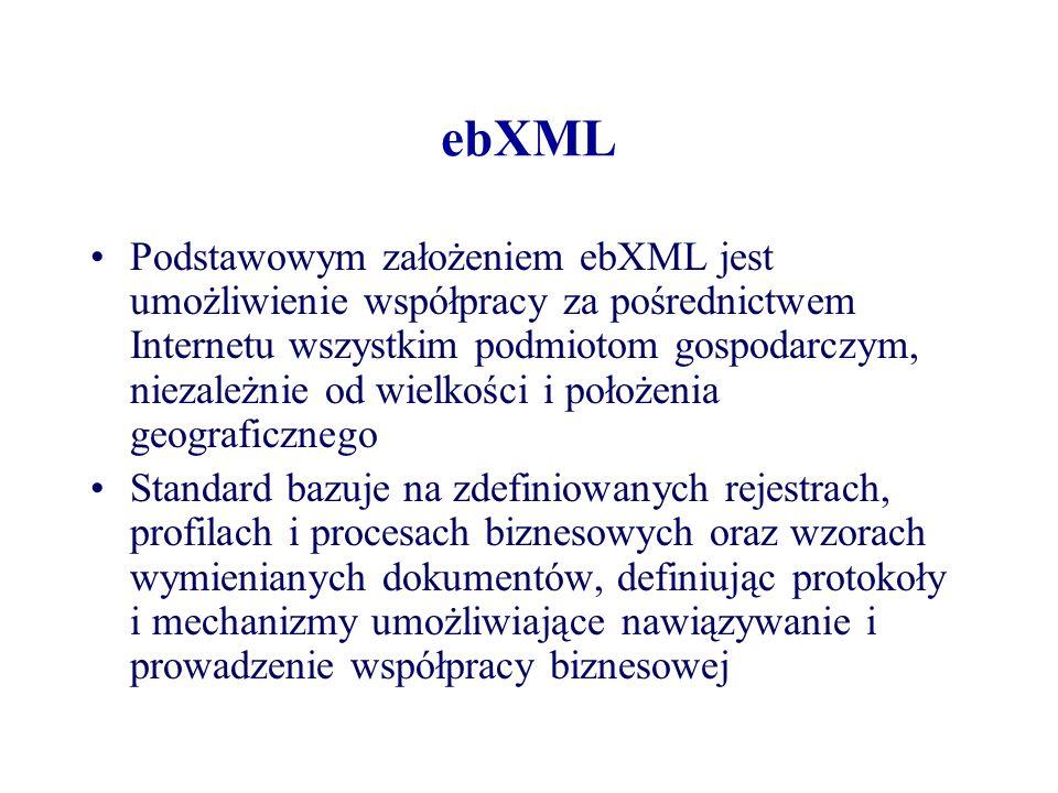 ebXML Podstawowym założeniem ebXML jest umożliwienie współpracy za pośrednictwem Internetu wszystkim podmiotom gospodarczym, niezależnie od wielkości
