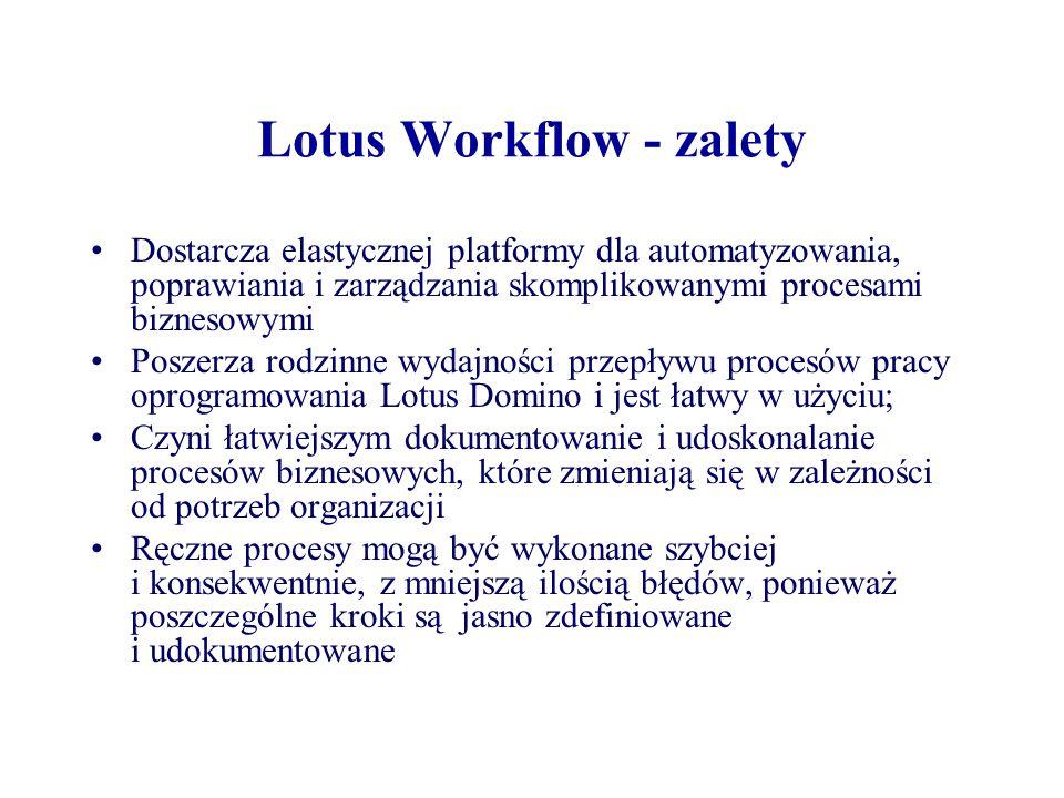 Lotus Workflow - zalety Dostarcza elastycznej platformy dla automatyzowania, poprawiania i zarządzania skomplikowanymi procesami biznesowymi Poszerza