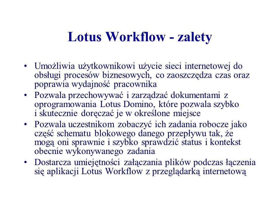 Lotus Workflow - zalety Umożliwia użytkownikowi użycie sieci internetowej do obsługi procesów biznesowych, co zaoszczędza czas oraz poprawia wydajność