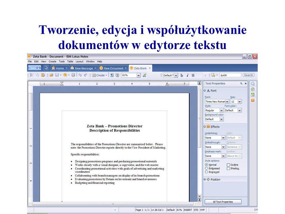 Tworzenie, edycja i współużytkowanie dokumentów w edytorze tekstu