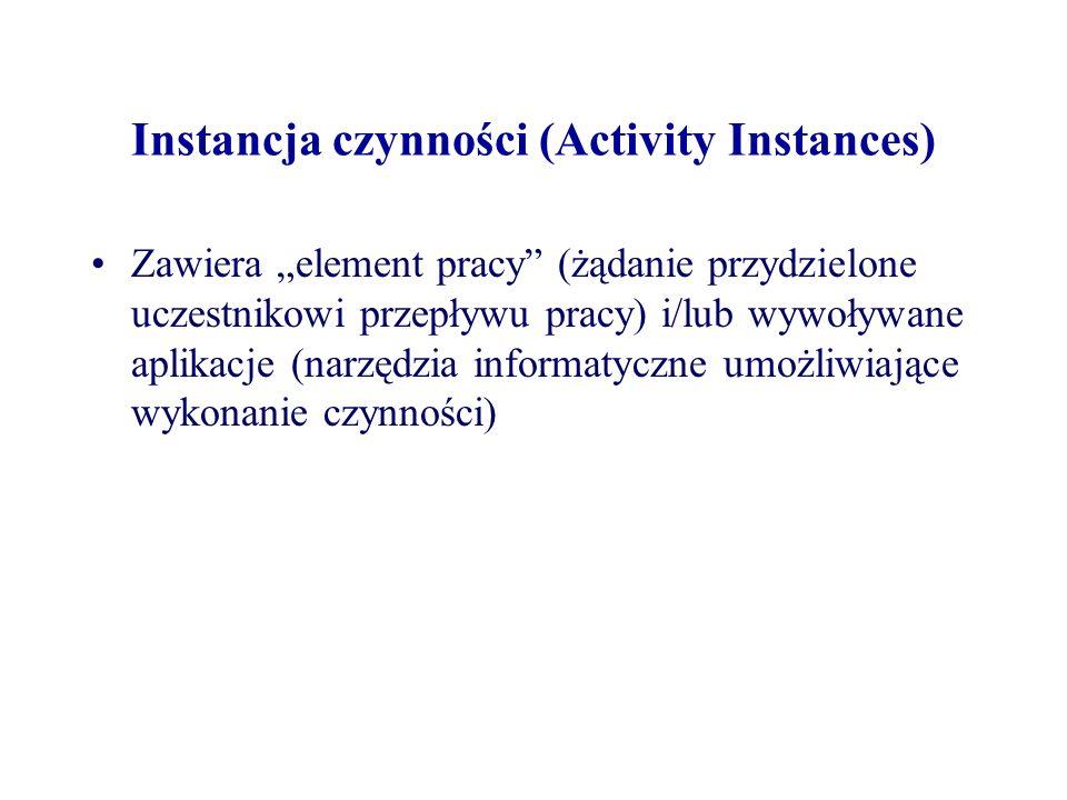 Instancja czynności (Activity Instances) Zawiera element pracy (żądanie przydzielone uczestnikowi przepływu pracy) i/lub wywoływane aplikacje (narzędz