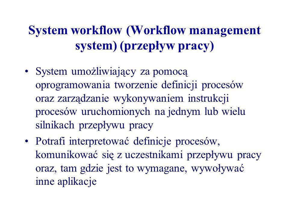 System workflow (Workflow management system) (przepływ pracy) System umożliwiający za pomocą oprogramowania tworzenie definicji procesów oraz zarządza