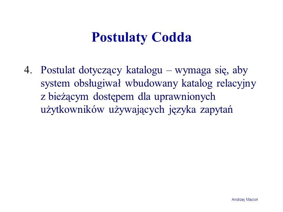Andrzej Macioł Postulaty Codda 4.Postulat dotyczący katalogu – wymaga się, aby system obsługiwał wbudowany katalog relacyjny z bieżącym dostępem dla u