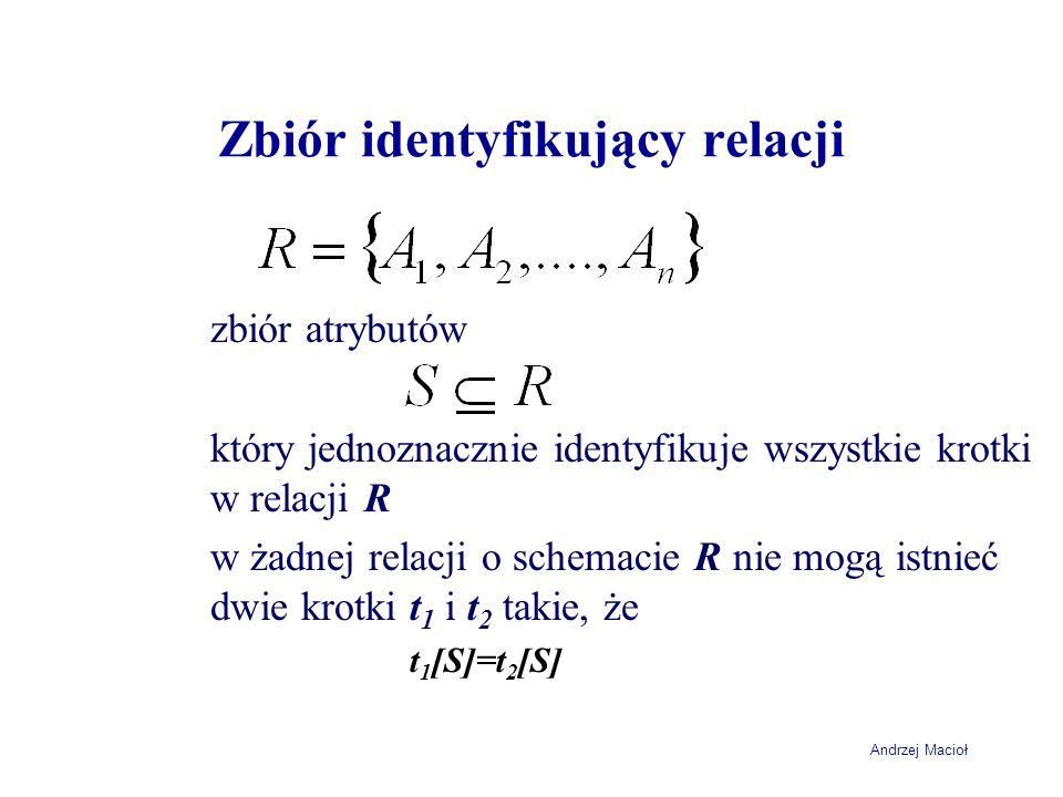 Andrzej Macioł Zbiór identyfikujący relacji zbiór atrybutów który jednoznacznie identyfikuje wszystkie krotki w relacji R w żadnej relacji o schemacie