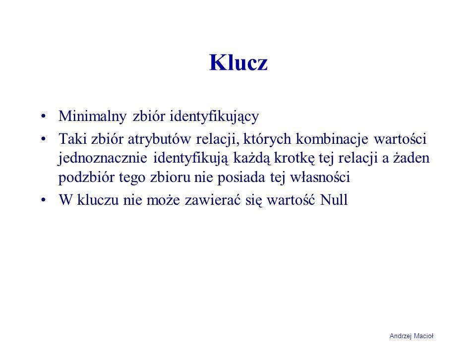 Andrzej Macioł Klucz Minimalny zbiór identyfikujący Taki zbiór atrybutów relacji, których kombinacje wartości jednoznacznie identyfikują każdą krotkę