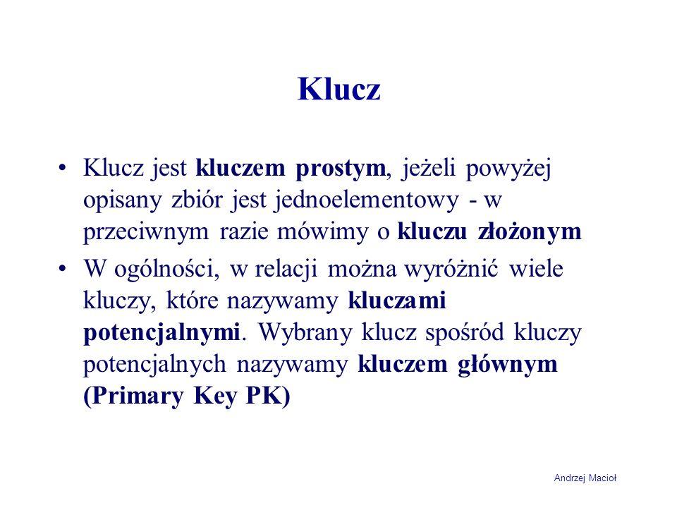 Andrzej Macioł Klucz Klucz jest kluczem prostym, jeżeli powyżej opisany zbiór jest jednoelementowy - w przeciwnym razie mówimy o kluczu złożonym W ogó
