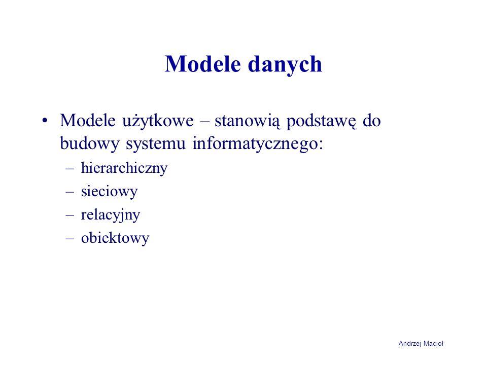 Andrzej Macioł Modele danych Modele użytkowe – stanowią podstawę do budowy systemu informatycznego: –hierarchiczny –sieciowy –relacyjny –obiektowy
