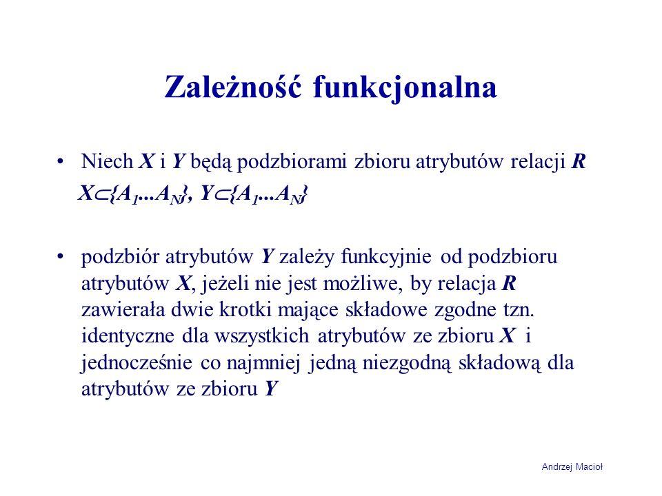 Andrzej Macioł Zależność funkcjonalna Niech X i Y będą podzbiorami zbioru atrybutów relacji R X {A 1...A N }, Y {A 1...A N } podzbiór atrybutów Y zale