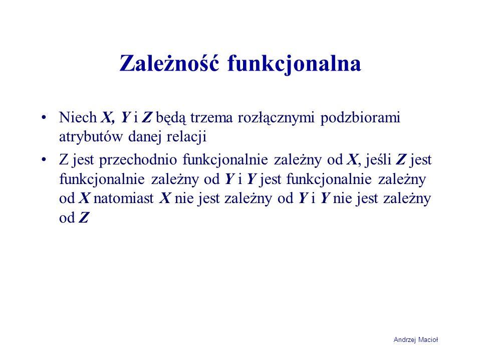 Andrzej Macioł Zależność funkcjonalna Niech X, Y i Z będą trzema rozłącznymi podzbiorami atrybutów danej relacji Z jest przechodnio funkcjonalnie zale