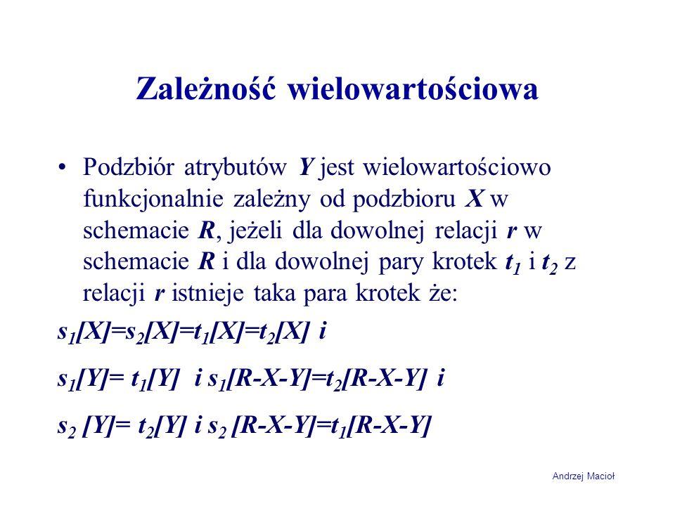 Andrzej Macioł Zależność wielowartościowa Podzbiór atrybutów Y jest wielowartościowo funkcjonalnie zależny od podzbioru X w schemacie R, jeżeli dla do