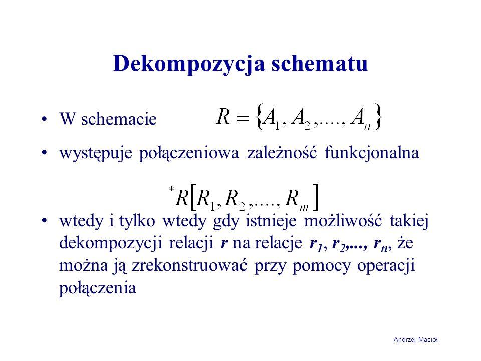 Andrzej Macioł Dekompozycja schematu W schemacie występuje połączeniowa zależność funkcjonalna wtedy i tylko wtedy gdy istnieje możliwość takiej dekom