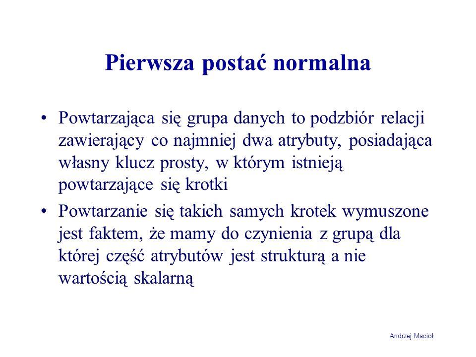 Andrzej Macioł Pierwsza postać normalna Powtarzająca się grupa danych to podzbiór relacji zawierający co najmniej dwa atrybuty, posiadająca własny klu