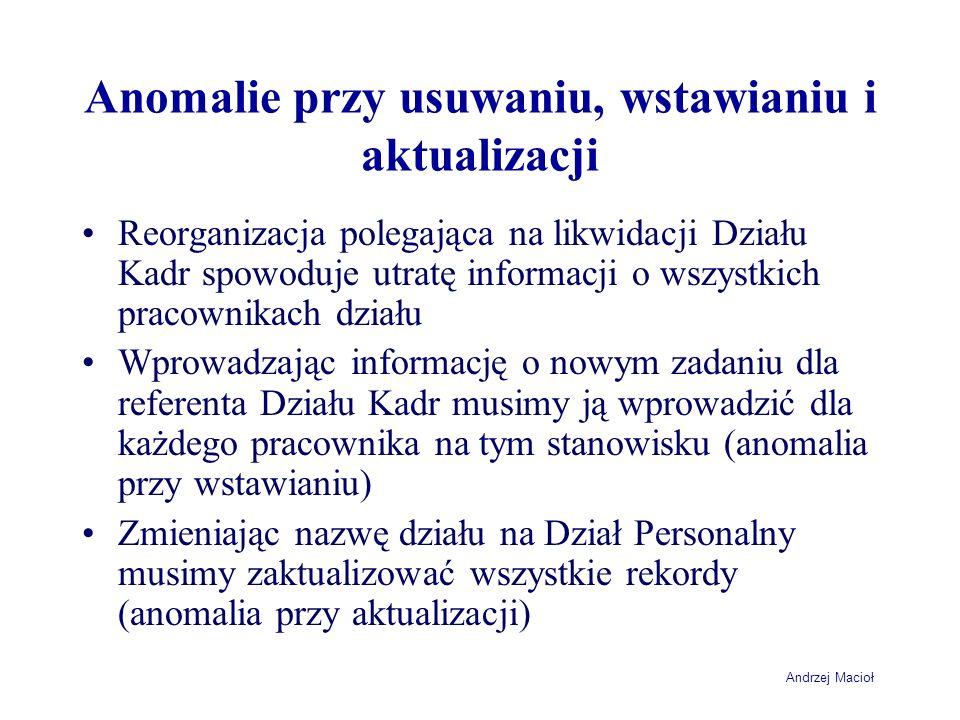 Andrzej Macioł Anomalie przy usuwaniu, wstawianiu i aktualizacji Reorganizacja polegająca na likwidacji Działu Kadr spowoduje utratę informacji o wszy