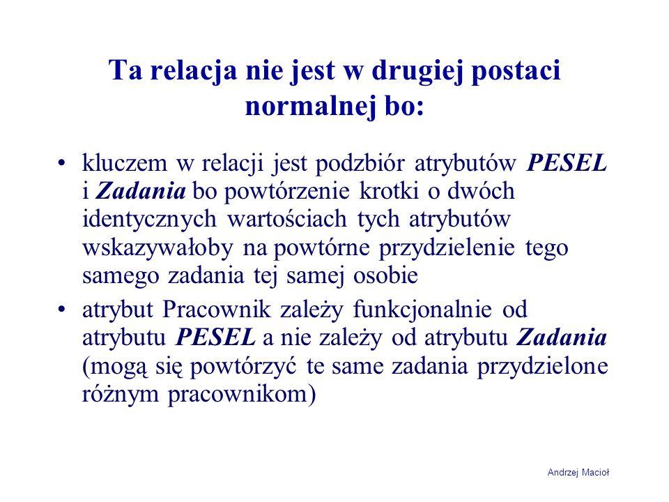 Andrzej Macioł Ta relacja nie jest w drugiej postaci normalnej bo: kluczem w relacji jest podzbiór atrybutów PESEL i Zadania bo powtórzenie krotki o d