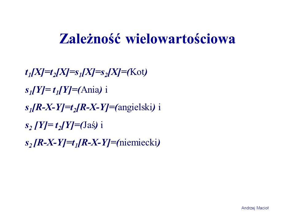 Andrzej Macioł Zależność wielowartościowa t 1 [X]=t 2 [X]=s 1 [X]=s 2 [X]=(Kot) s 1 [Y]= t 1 [Y]=(Ania) i s 1 [R-X-Y]=t 2 [R-X-Y]=(angielski) i s 2 [Y
