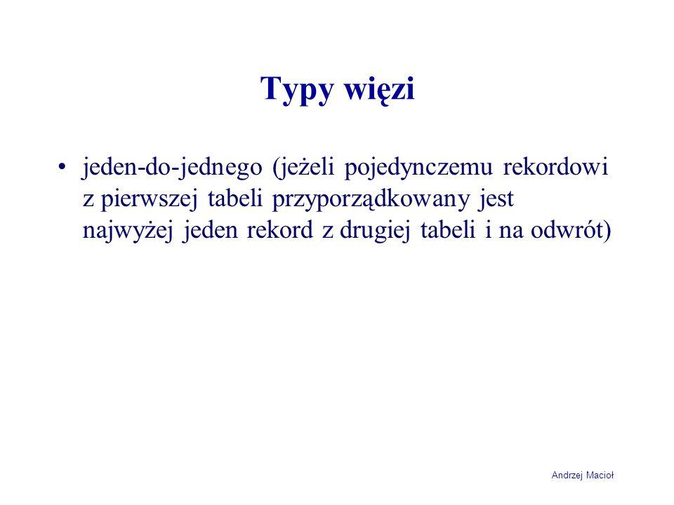 Andrzej Macioł Typy więzi jeden-do-jednego (jeżeli pojedynczemu rekordowi z pierwszej tabeli przyporządkowany jest najwyżej jeden rekord z drugiej tab