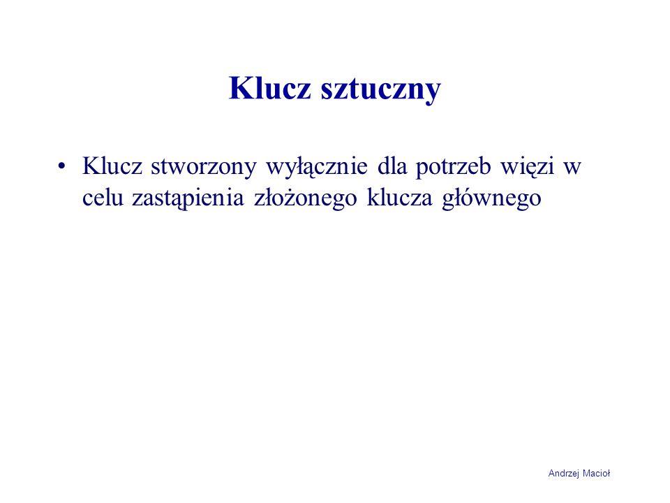 Andrzej Macioł Klucz sztuczny Klucz stworzony wyłącznie dla potrzeb więzi w celu zastąpienia złożonego klucza głównego