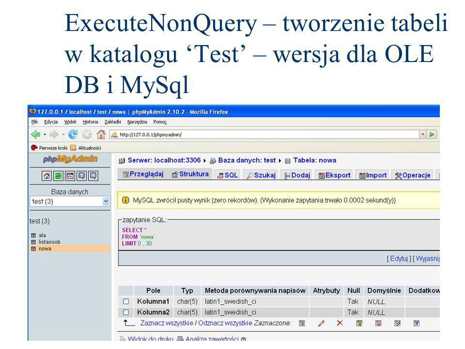 ExecuteNonQuery – tworzenie tabeli w katalogu Test – wersja dla OLE DB i MySql
