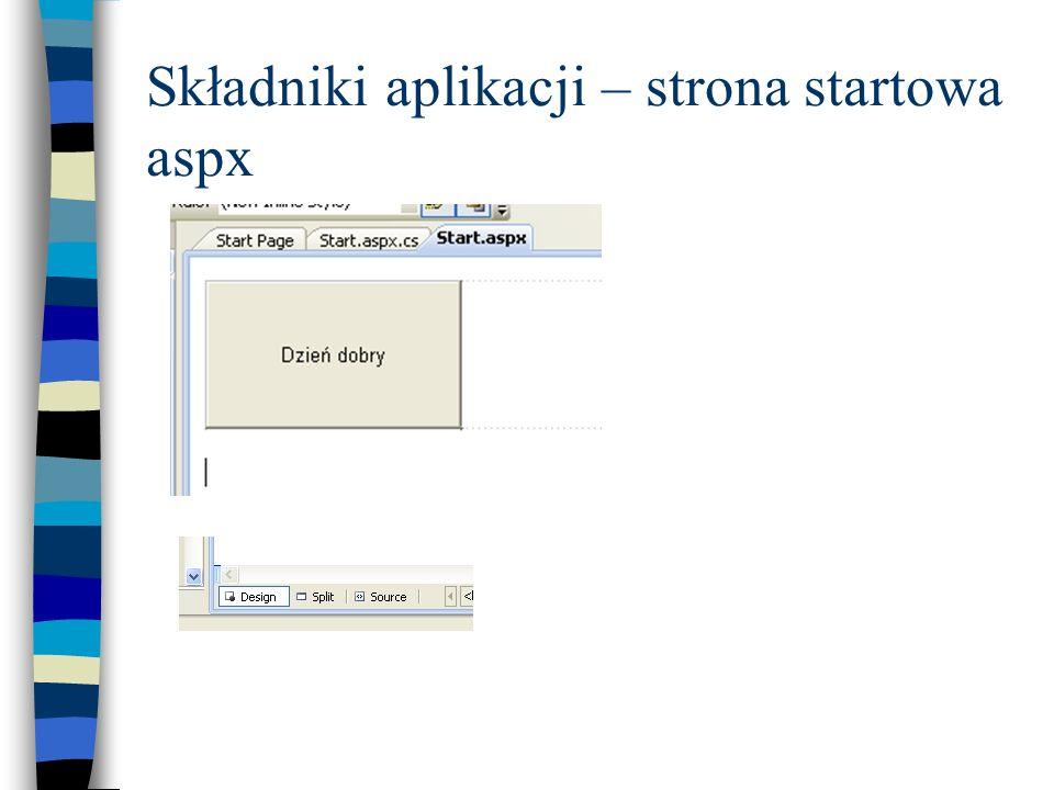 Składniki aplikacji – strona startowa aspx