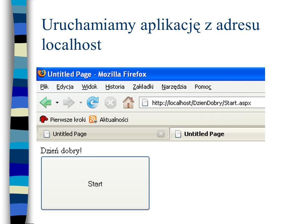 Uruchamiamy aplikację z adresu localhost