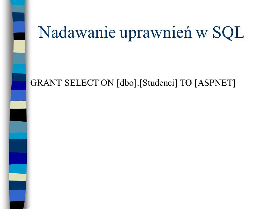 Nadawanie uprawnień w SQL GRANT SELECT ON [dbo].[Studenci] TO [ASPNET]