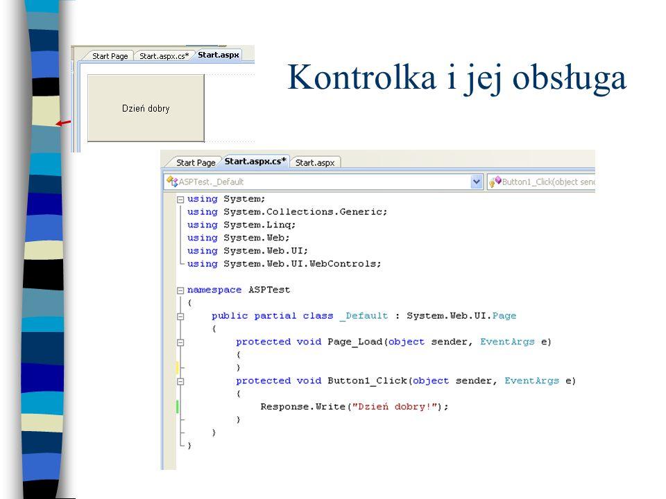 Struktura aplikacji Pliki z rozszerzeniem aspx są projektami stron zawierającymi odwołania do plików z kodem wykonywanym w tle (Code Behind) Aplikacja generuje stronę wysyłaną do klienta w kodzie html