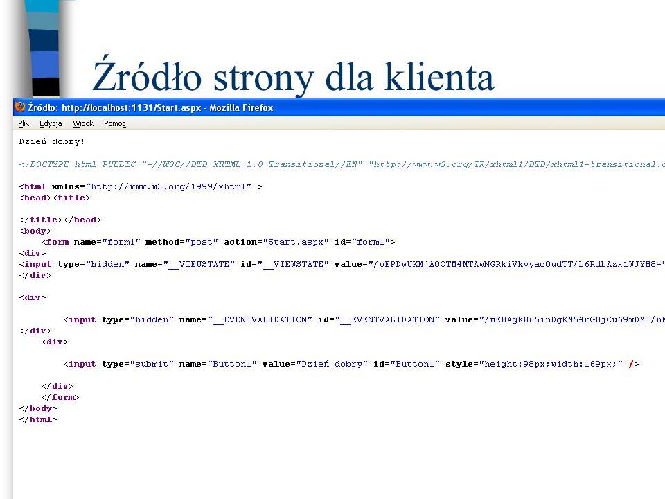 Przesyłanie danych pomiędzy klientem i serwerem Do dynamicznego umieszczania na stronie klienta danych służy obiekt Response Metoda Write obiektu Response umieszcza łańcuch w dokumencie użytkownika
